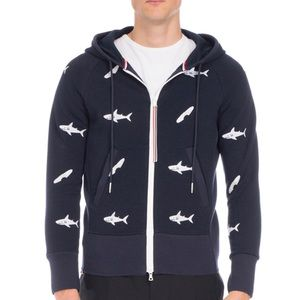 Thom Browne Embroidered Shark & Surf Zip Hoodie